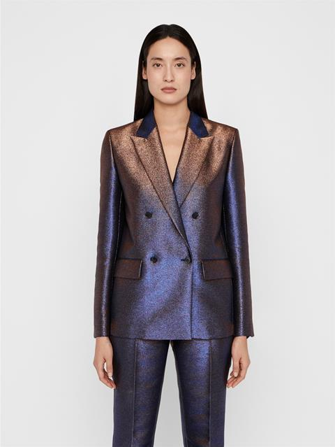 Womens Delano Glitter Satin Blazer Blue Metallic