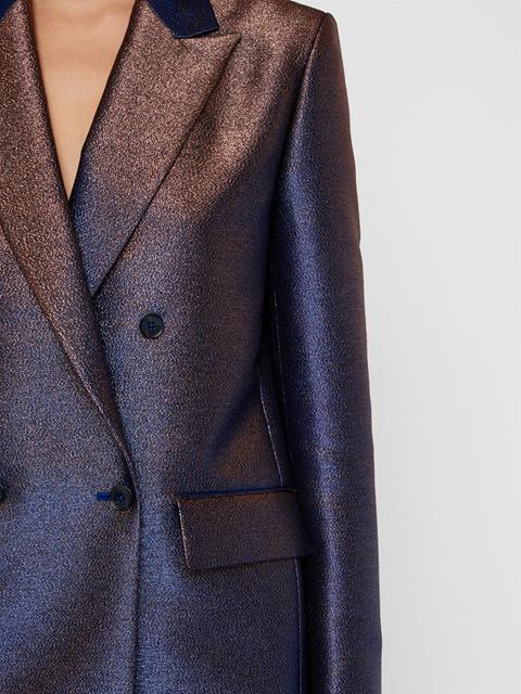 Womens Delano Glitter Satin Blazer Blue Metallic