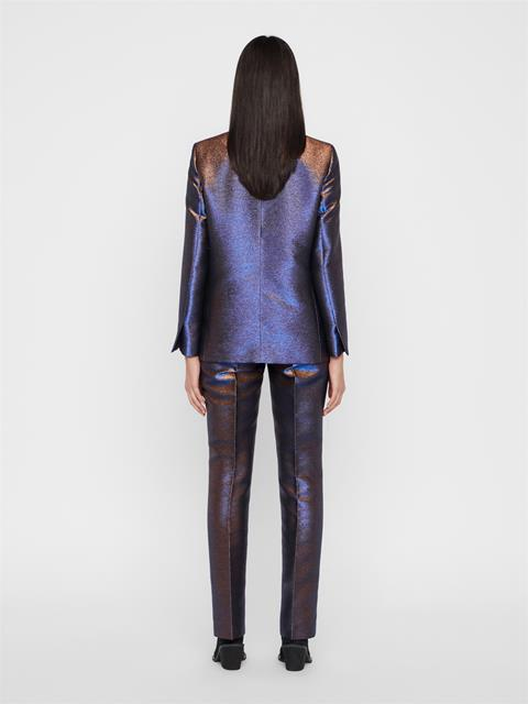Womens Aretha Glitter Satin Pants Blue Metallic