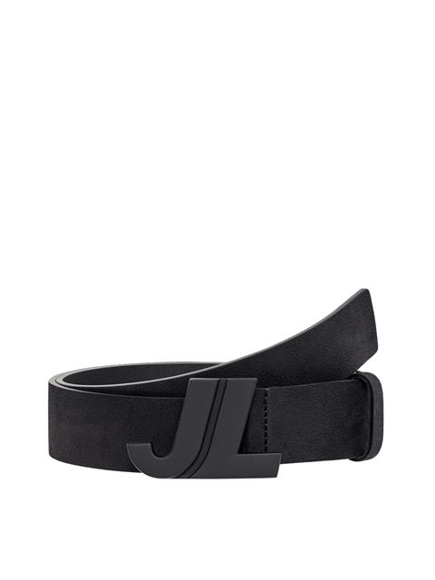 Mens JL Iconic Brushed Leather Belt Black