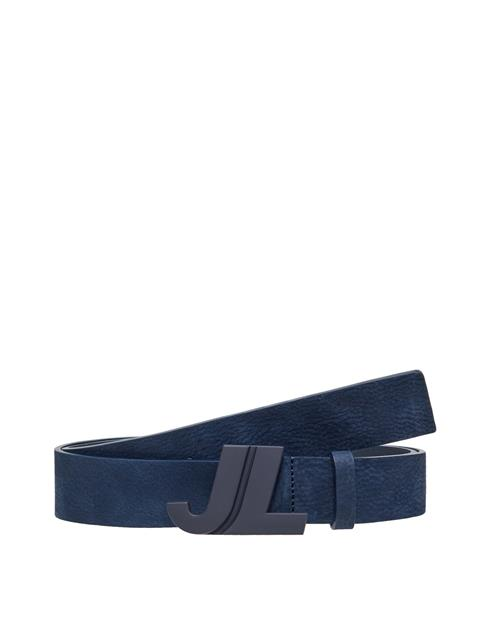 Mens JL Iconic Brushed Leather Belt JL Navy