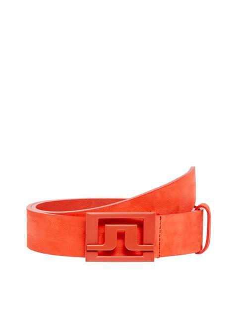 Mens Slater Brushed Leather Belt Tomato Red