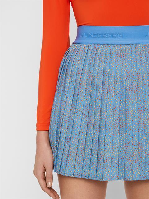 Womens Chloe Light Poly Stretch Skirt Lake Blue Dot