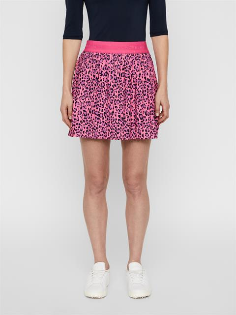 Womens Chloe Light Poly Stretch Skirt Pink Leopard