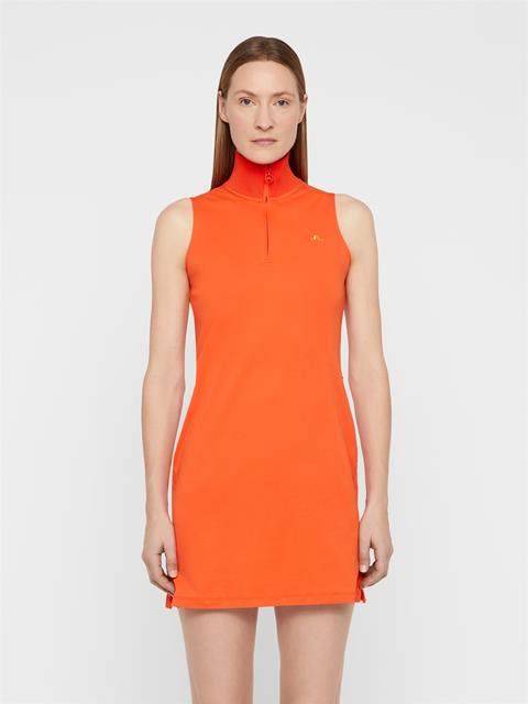 Womens Elsa Cotton Poly Dress Tomato Red