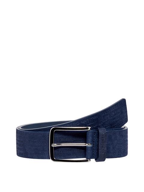 Mens Archive Brushed Leather Belt JL Navy