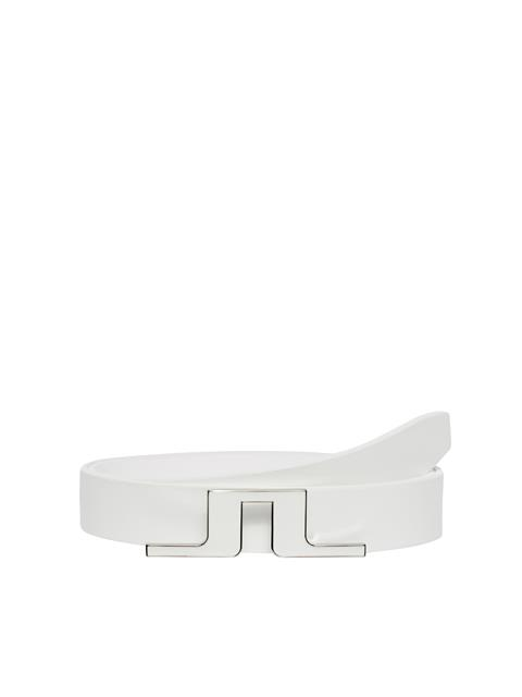 Womens Beth Leather Belt White