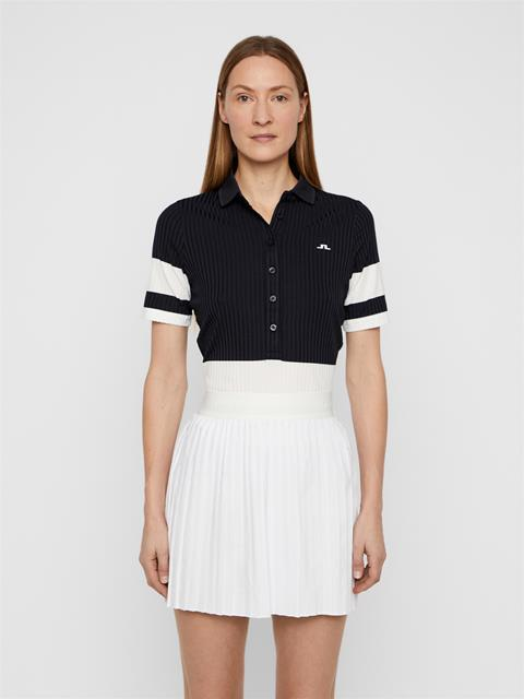 Womens Natasha Ribbed Jersey Polo JL Navy