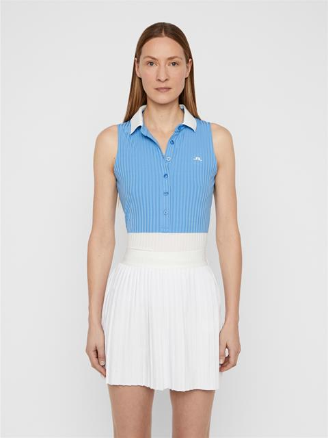 Womens Nora Ribbed Jersey Polo Lake Blue