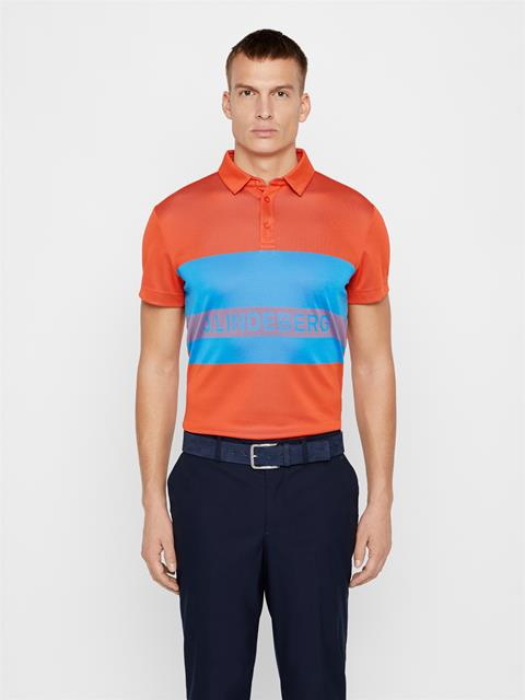 Mens Theo TX Jacquard Polo Tomato Red