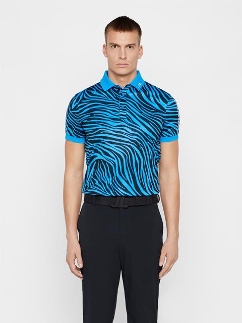 Mens Tour Tech Printed TX Jersey Polo Zebra Worl Blue