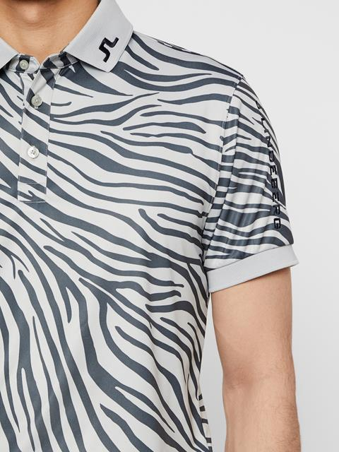 Mens Tour Tech Printed TX Jersey Polo Zebra Worl Grey