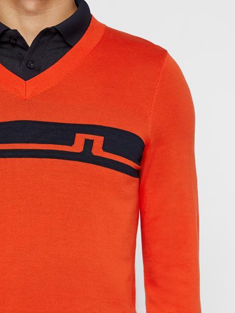 Mens Milo Cotton Sweater Tomato Red