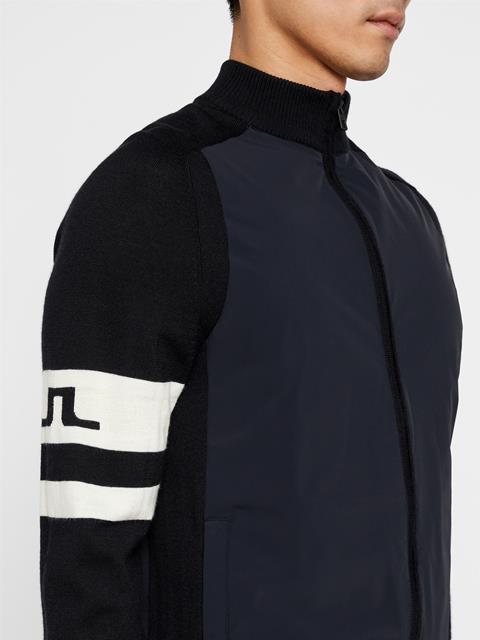Mens Knit Hybrid Sweater Jacket Black