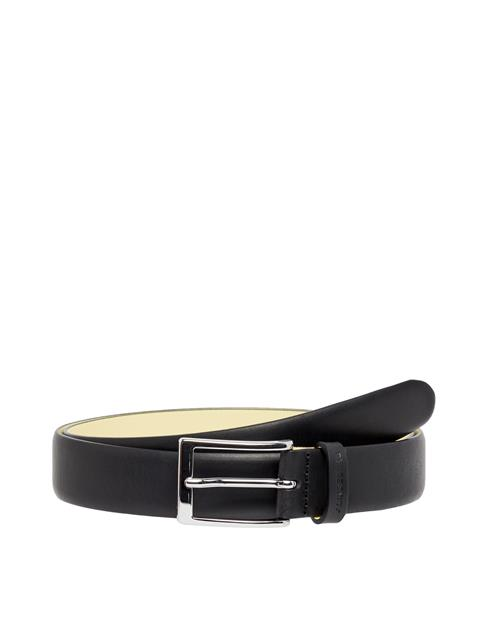 Mens Contrast Leather Belt Black