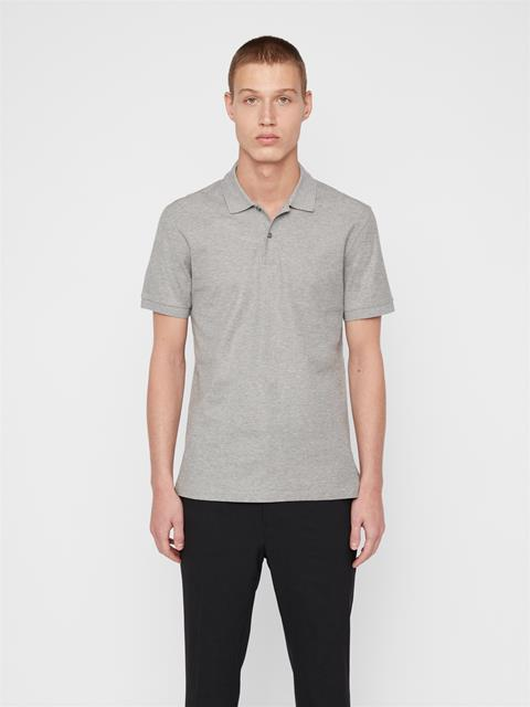 Mens Troy Pique Polo Light Grey Melange