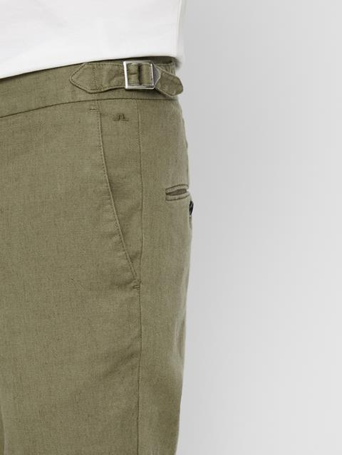 Mens Grant Cotton Linen Pants Covert Green