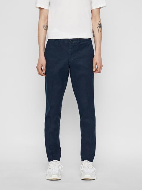 Mens Grant Cotton Linen Pants JL Navy