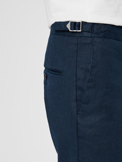Mens Grant Cotton Linen Pants JL Navy