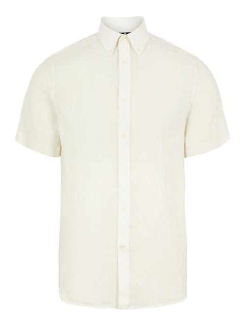 Mens Daniel Linen Melange Short Sleeve Shirt Cloud White