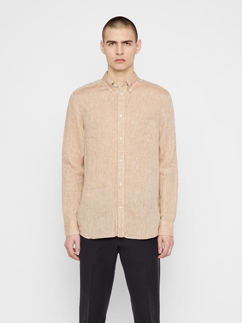 Mens Daniel Linen Melange Shirt Burro