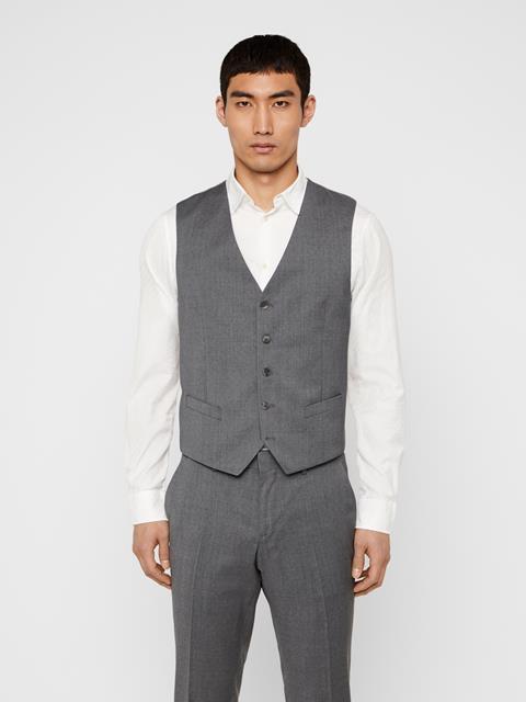 Mens Justin Comfort Wool Waistcoat Stone Grey