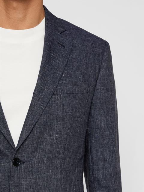 Mens Hopper Tech Linen Blazer Mid Blue