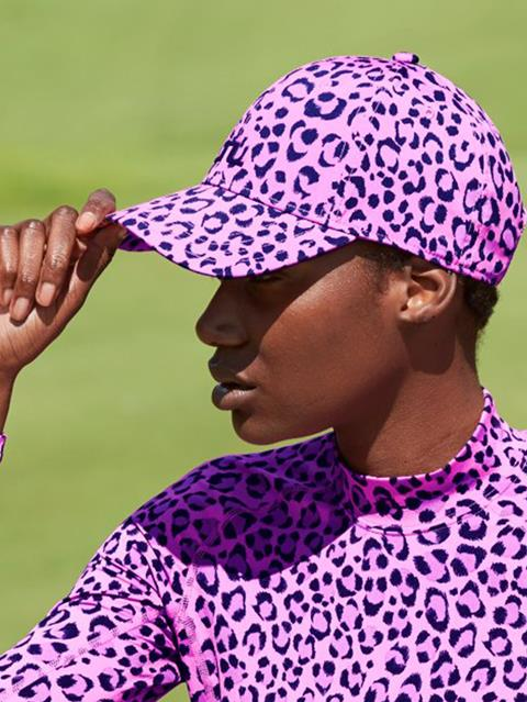 Womens Angie Tech Stretch Cap Pink Leopard