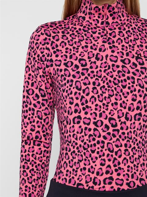 Womens Ana Light Midlayer Pink Leopard