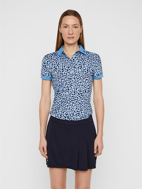 Womens Tour Tech Printed TX Jersey Polo Blue Leopard