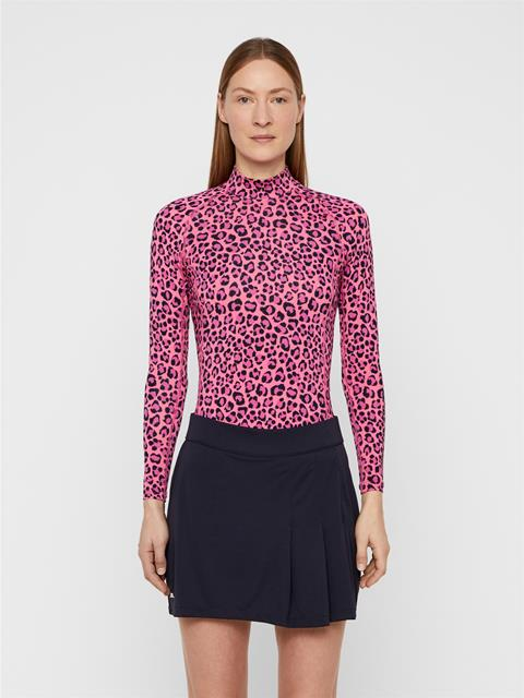 Womens Asa Printed Compression Top Pink Leopard