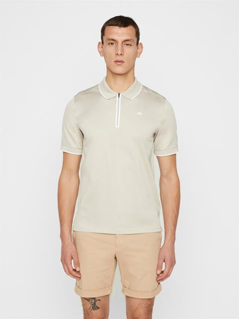 Mens Lewis Pique Polo Cloud Grey