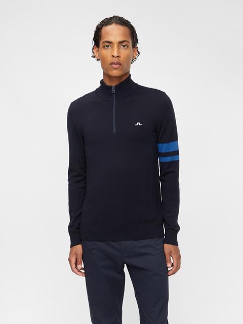 Mens Abel Quarter Zip Sweater Egyptian Blue
