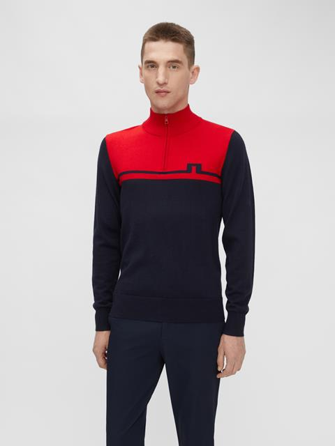 Mens Theo Zipped Sweater Red Bell