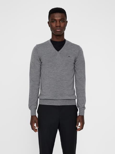 Mens Lymann True Merino Knit Sweater Grey Melange