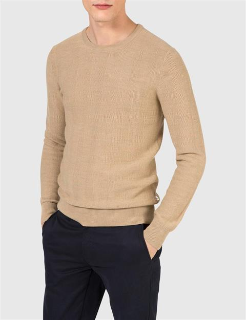 Mens Damon Herringbone Knit Sweater Golden Melange