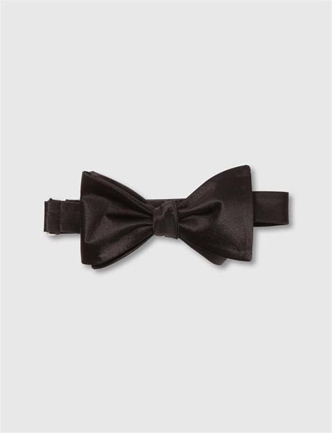 Mens Open Bow-Tie Evening Satin Black