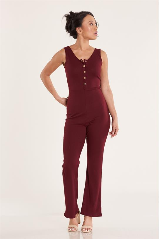 0302572ea31 BELL BOTTOM JUMPSUIT W BUTTONS WINE