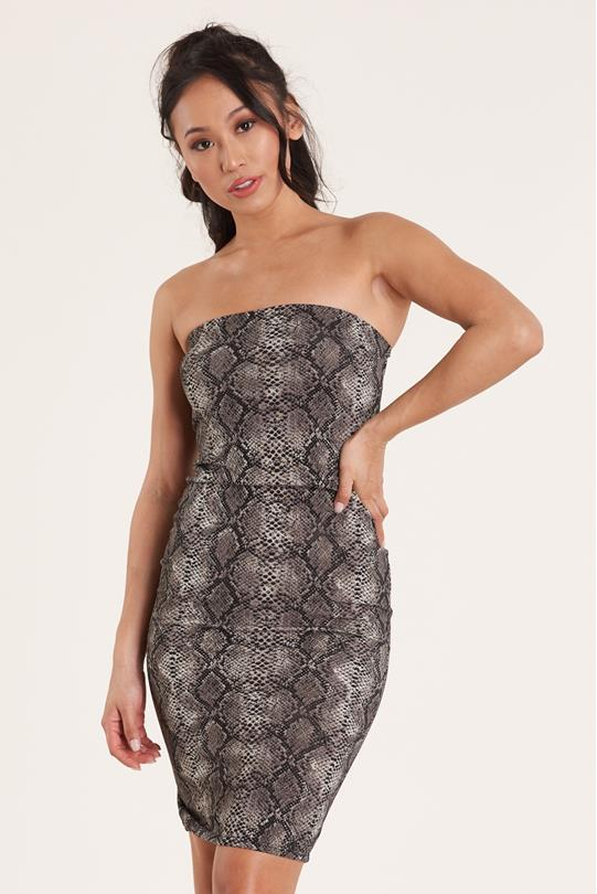 267e380bba22 SNAKE SKIN TUBE DRESS GRAY | Discovery Clothing