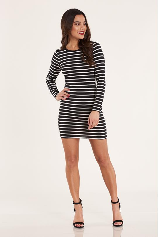 329d5437039 Side-Stripe Bodycon Dress BLKWHT