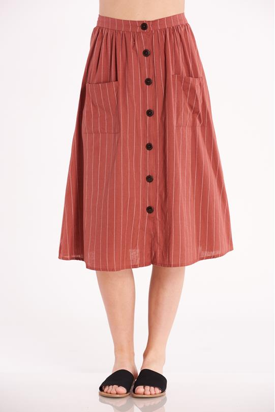 8ed609271e Striped Button Up Skirt RUST