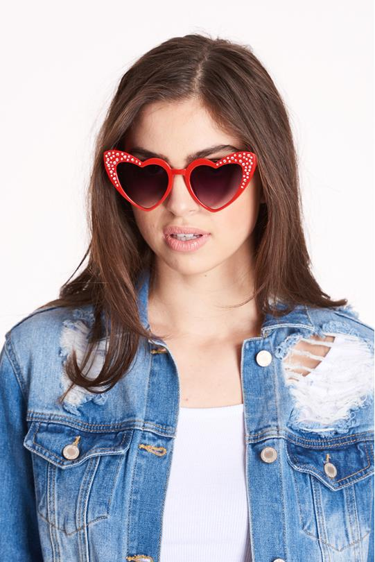 dd0f1a746c2 Heart Sunglasses RED