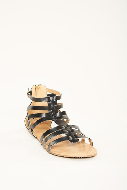 cd73c543a0a Faux Leather Gladiator Sandals BLACK