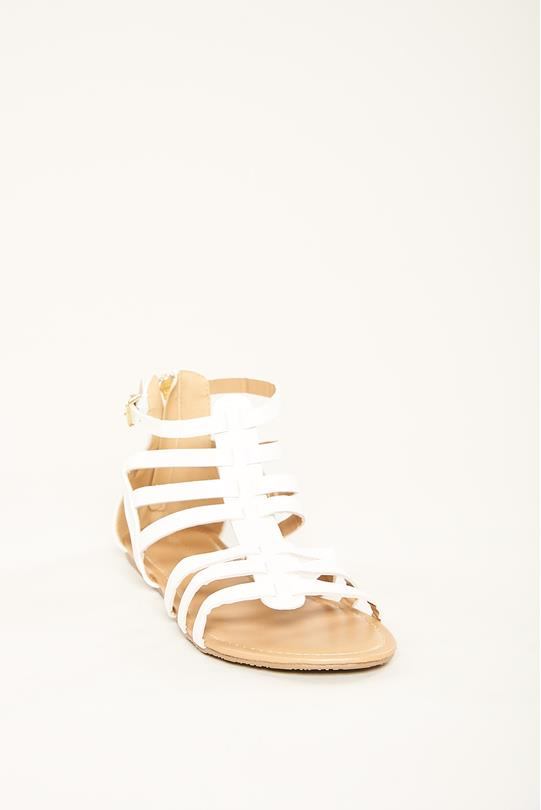 5c0c7efbb9df Faux Leather Gladiator Sandals WHITE