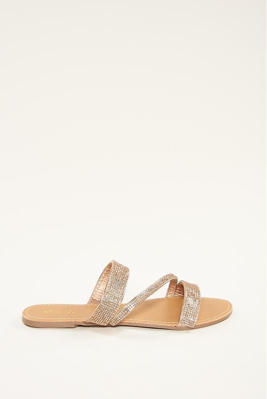 7f029d92d24c Multi Strap Rhinestone Sandals ROSE GOLD