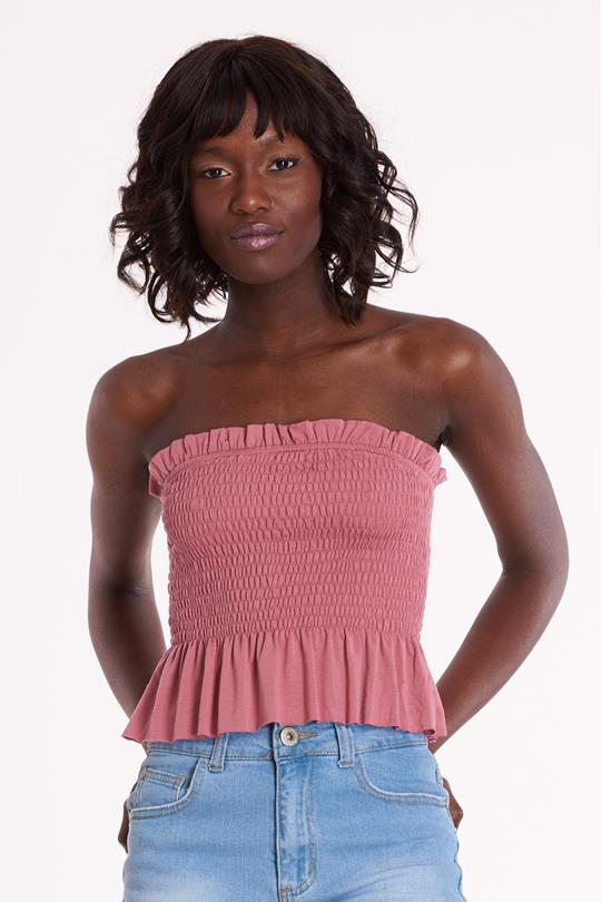 eb42a92f14e Solid Smock Tube Top ROSE | Discovery Clothing