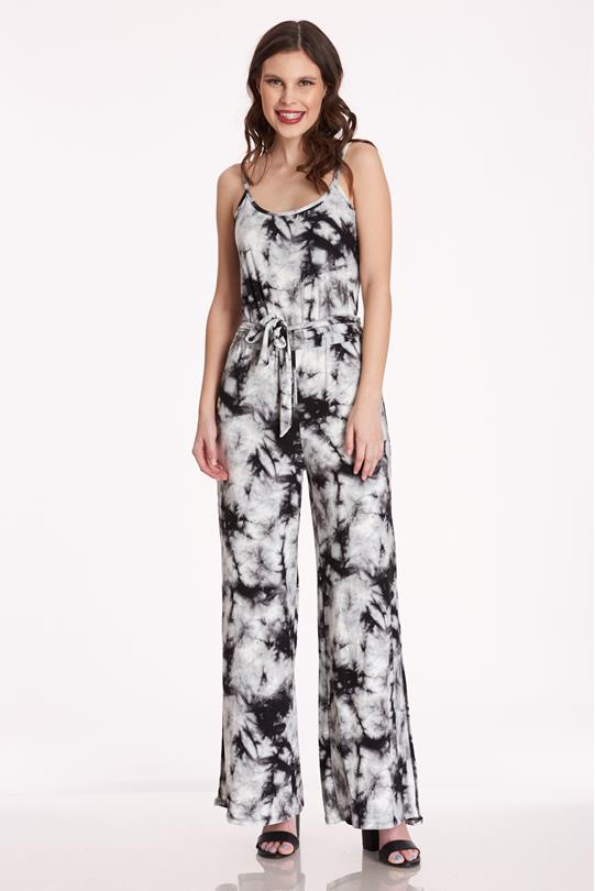 1a8b7885d75 Brushed Tie Dye Jumpsuit BLACK