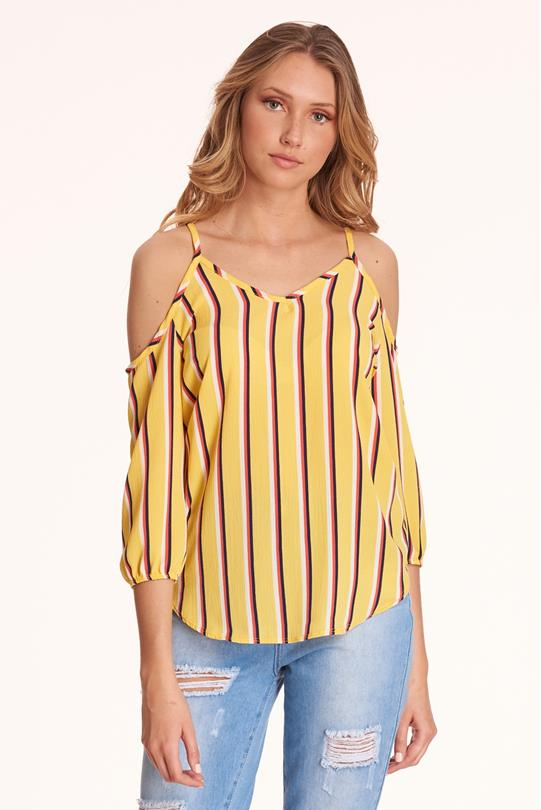 116f39391c8122 Striped Open-Shoulder Top YELLOW
