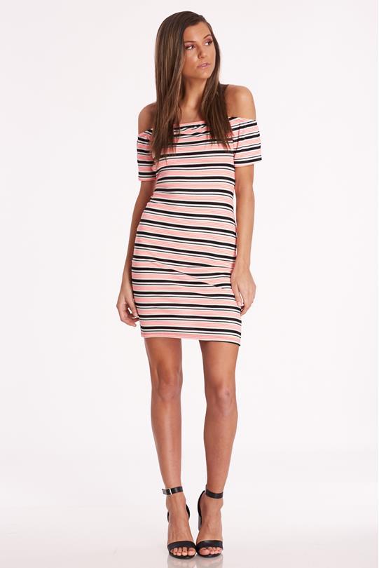 594bd0d7b86 Striped Open-Back Dress CORAL