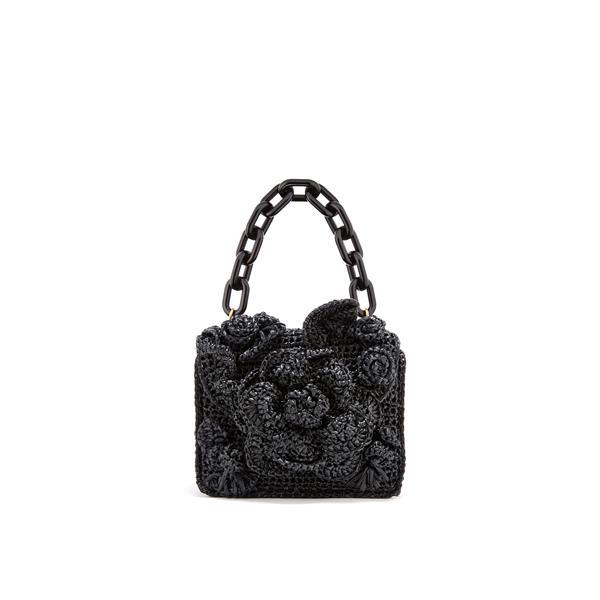 Black Raffia Mini TRO Bag|Top Handle Bags| Oscar de la Renta Black | Oscar de la Renta